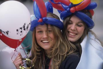 Norway, Hordaland County, Bergen, Russ (graduate students) celebrating the National Holiday on May 17